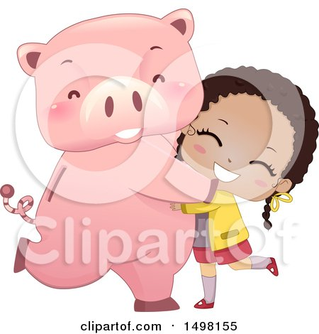 Clipart of a Happy Girl Hugging or Dancing with Her Piggy Bank - Royalty Free Vector Illustration by BNP Design Studio