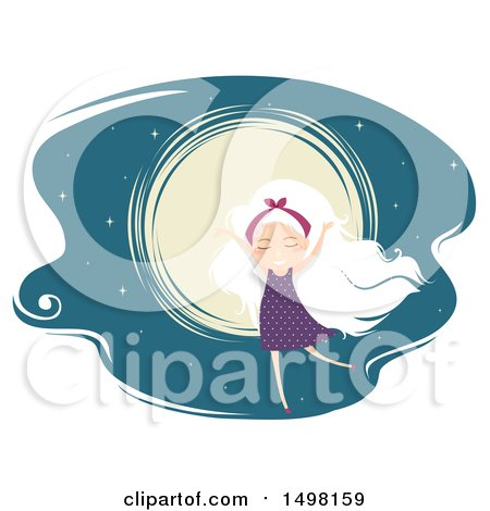 Clipart of a White Haired Girl Dancing Against a Full Moon - Royalty Free Vector Illustration by BNP Design Studio