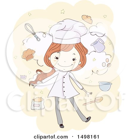 Clipart of a Sketched Chef Girl with Baking Items - Royalty Free Vector Illustration by BNP Design Studio