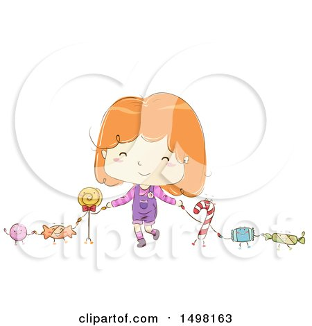 Clipart of a Sketched Girl Holding Hands with Candy Characters - Royalty Free Vector Illustration by BNP Design Studio