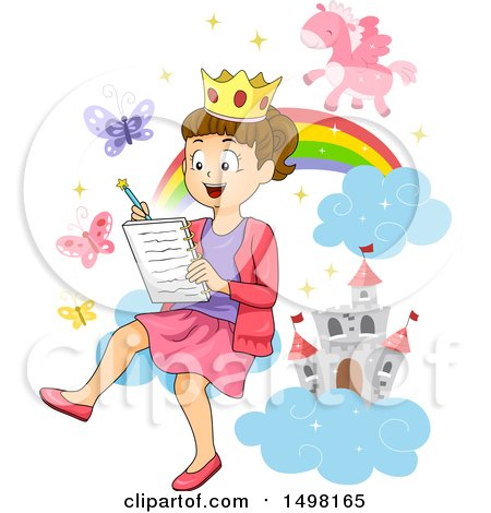 Clipart of a Girl Writing a Fairy Tale and Imagining a Castle and Unicorn - Royalty Free Vector Illustration by BNP Design Studio