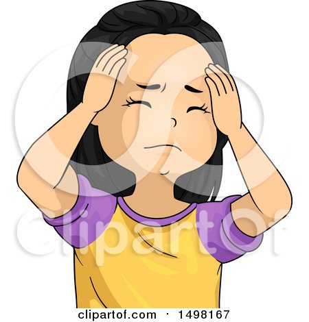 Clipart of a Girl with a Headache, Rubbing Her Forehead - Royalty Free Vector Illustration by BNP Design Studio