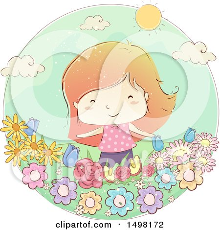 Clipart of a Sketched Girl in a Flower Garden - Royalty Free Vector Illustration by BNP Design Studio