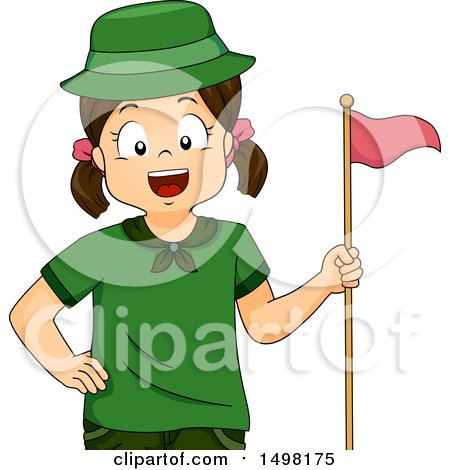 Clipart of a Scout Girl with a Flag - Royalty Free Vector Illustration by BNP Design Studio