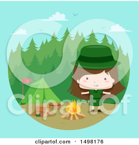 Clipart of a Camping Scout Girl - Royalty Free Vector Illustration by BNP Design Studio
