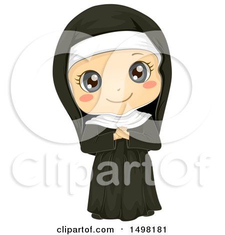 Clipart of a Girl in a Nun Costume - Royalty Free Vector Illustration by BNP Design Studio