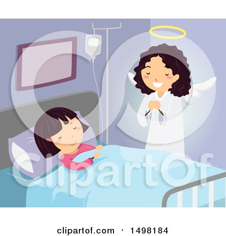 Clipart of a Guardian Angel Watching over a Girl in a Hospital - Royalty Free Vector Illustration by BNP Design Studio