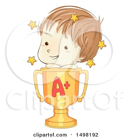 Clipart of a Sketched School Boy on Top of a Golden Winner Trophy Cup with an a - Royalty Free Vector Illustration by BNP Design Studio