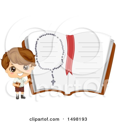 Clipart of a Boy Holding a Bible and Presenting a Giant Notebook with a Rosary - Royalty Free Vector Illustration by BNP Design Studio