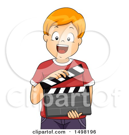 Clipart of a Happy Boy Holding a Drama Theater Clapper Board - Royalty Free Vector Illustration by BNP Design Studio
