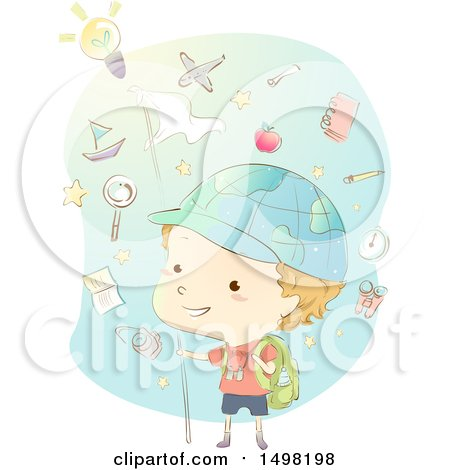 Clipart of a Sketched Boy Exploring with a Globe Hat and Icons - Royalty Free Vector Illustration by BNP Design Studio
