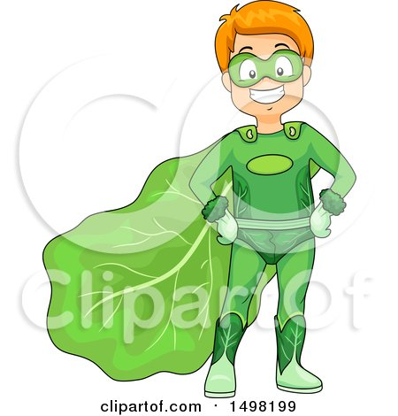 Clipart of a Happy Boy Posing in a Leafy Vegetable Super Hero Costume - Royalty Free Vector Illustration by BNP Design Studio