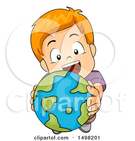 Clipart of a Red Haired Boy Holding up a Globe - Royalty Free Vector Illustration by BNP Design Studio