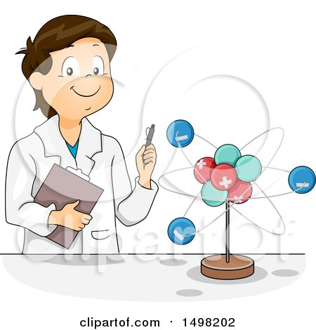 Clipart of a School Boy Studying a Molecule Model - Royalty Free Vector Illustration by BNP Design Studio