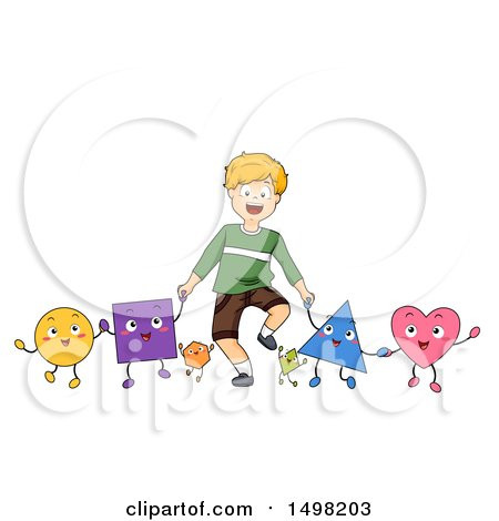 Clipart of a Blond Boy Holding Hands with Shape Characters - Royalty Free Vector Illustration by BNP Design Studio