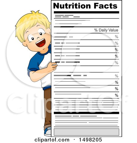 Clipart of a Blond Boy Looking Around a Giant Nutrition Facts Label - Royalty Free Vector Illustration by BNP Design Studio