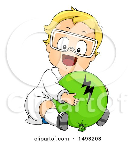 Clipart of a Blond Toddler Boy Hugging a Balloon for Static Electricity - Royalty Free Vector Illustration by BNP Design Studio