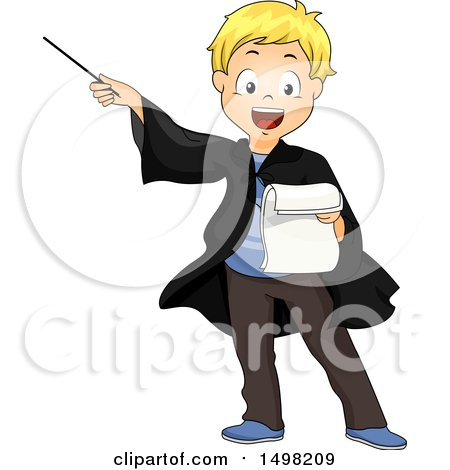 Clipart of a Blond Boy Reading a Manuscript and Acting As a Wizard - Royalty Free Vector Illustration by BNP Design Studio