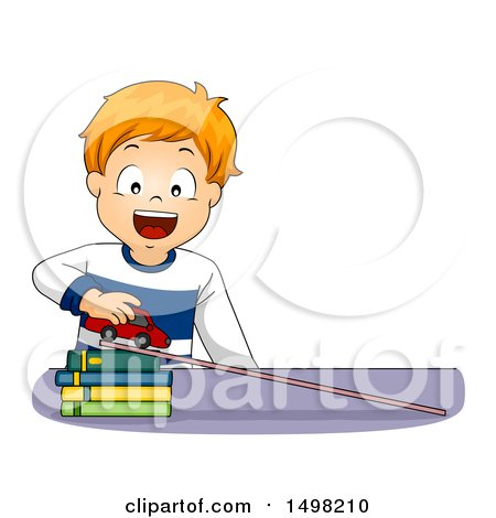 Clipart of a Red Haired Boy Demonstrating Acceleration with a Car, Books and Ramp - Royalty Free Vector Illustration by BNP Design Studio