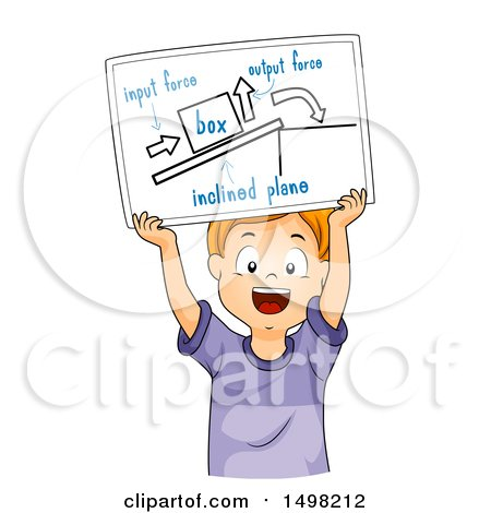 Clipart of a Boy Holding up a Drawing Explaining Inclined Plane - Royalty Free Vector Illustration by BNP Design Studio
