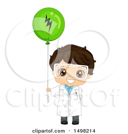 Clipart of a Brunette Boy Wearing a Science Lab Coat and Holding a Static Electricity Balloon - Royalty Free Vector Illustration by BNP Design Studio