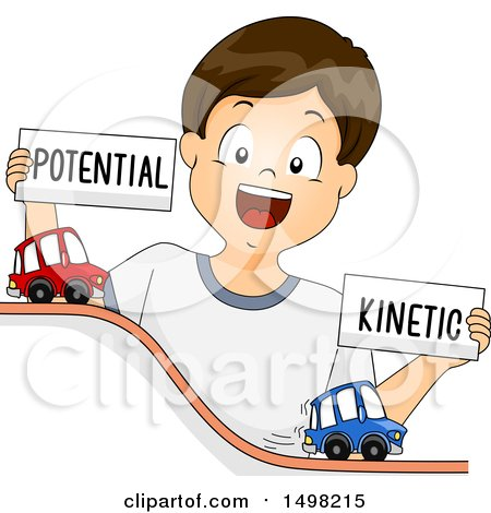 Clipart of a Brunette Boy Demonstrating Potential and Kinetic Energy with Toy Cars - Royalty Free Vector Illustration by BNP Design Studio
