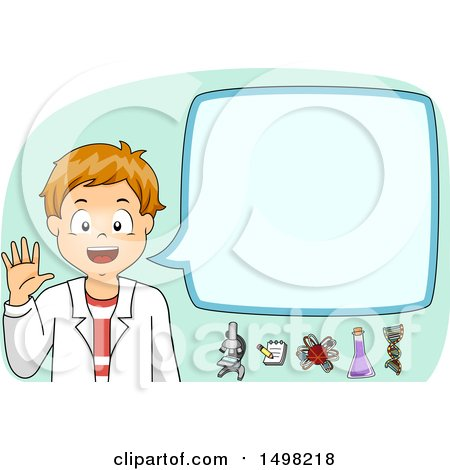 Clipart of a School Boy in a Lab Coat, Discussing Science - Royalty Free Vector Illustration by BNP Design Studio