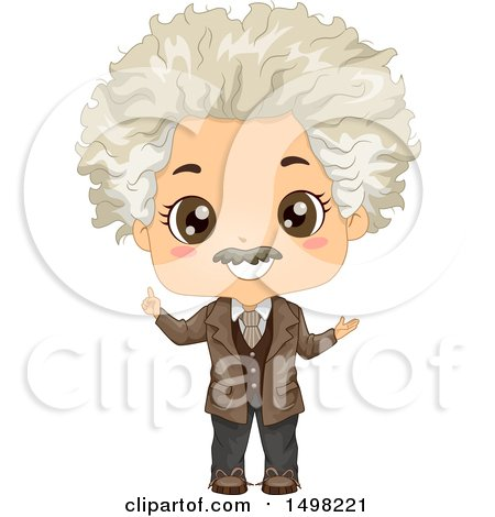 Clipart of a Boy in an Albert Einstein Costume - Royalty Free Vector Illustration by BNP Design Studio