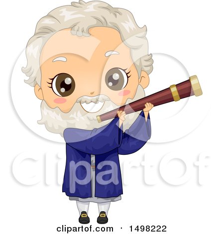 Clipart of a Boy in a Galileo Galilei Costume - Royalty Free Vector Illustration by BNP Design Studio