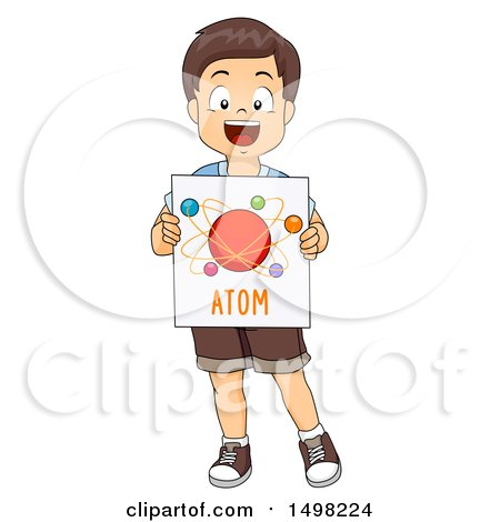 Clipart of a Boy Holding an Atom Model Diagram - Royalty Free Vector Illustration by BNP Design Studio