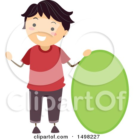 Clipart of a Boy with a Shape of an Oval - Royalty Free Vector Illustration by BNP Design Studio