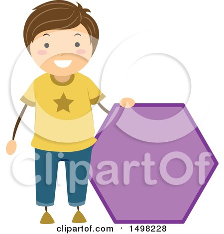Clipart of a Boy with a Shape of a Hexagon - Royalty Free Vector Illustration by BNP Design Studio