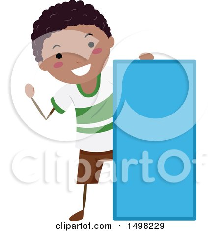 Clipart of a Boy with a Shape of a Rectangle - Royalty Free Vector Illustration by BNP Design Studio