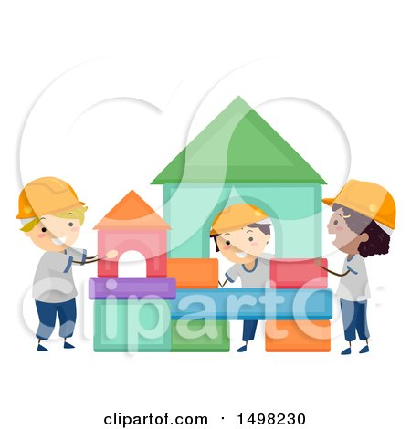 Clipart of a Group of Boys Building a Structure from Shapes - Royalty Free Vector Illustration by BNP Design Studio