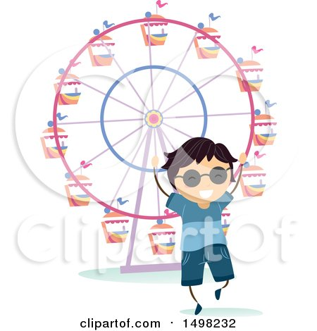 Clipart of a Happy Boy at a Theme Park for a Field Trip - Royalty Free Vector Illustration by BNP Design Studio