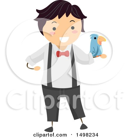 Clipart of a Boy Performing a Magic Trick with a Bird - Royalty Free Vector Illustration by BNP Design Studio