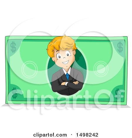 Clipart of a Business Boy on a Dollar Bill - Royalty Free Vector Illustration by BNP Design Studio
