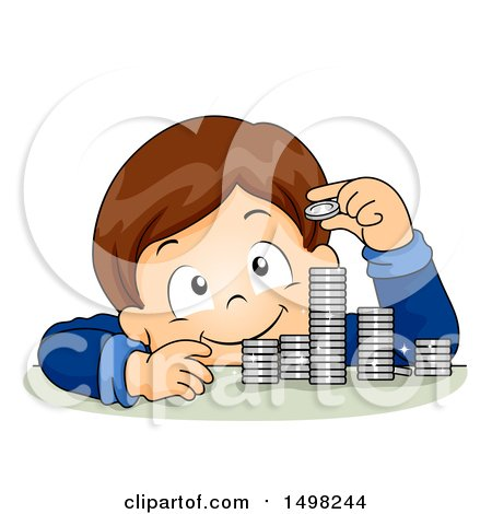 Clipart of a Boy Counting and Stacking Coins - Royalty Free Vector Illustration by BNP Design Studio