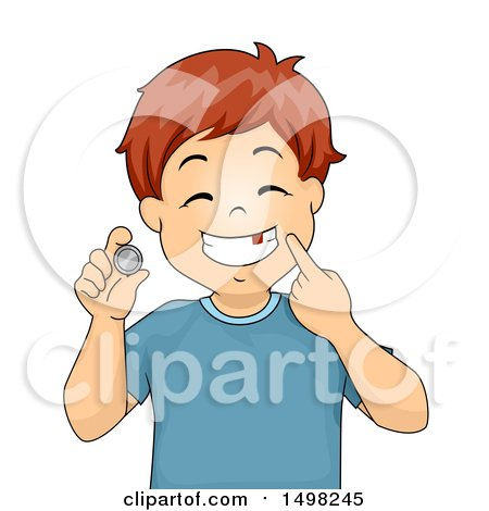 Clipart of a Boy Pointing to a Missing Tooth and a Coin from the Tooth Fairy - Royalty Free Vector Illustration by BNP Design Studio
