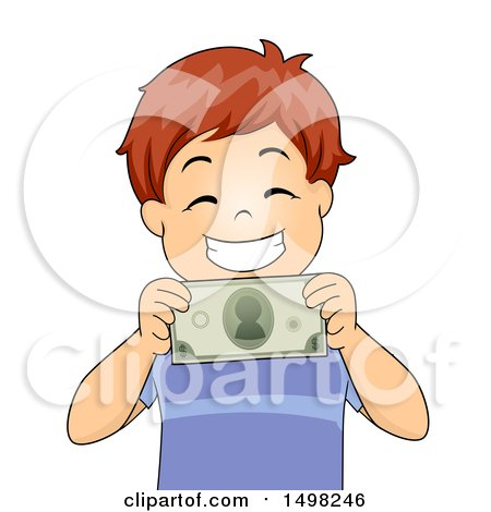 Clipart of a Boy Grinning and Holding a Dollar Bill - Royalty Free Vector Illustration by BNP Design Studio
