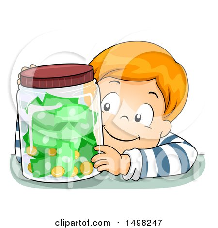 Clipart of a Boy with a Jar Full of Coins and Cash Money - Royalty Free Vector Illustration by BNP Design Studio