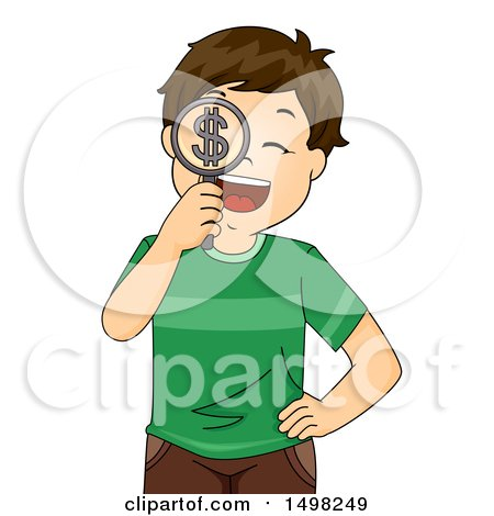 Clipart of a Boy Holding a Dollar Symbol Magnifying Glass - Royalty Free Vector Illustration by BNP Design Studio