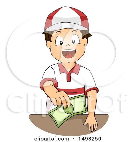 Clipart of a Worker Boy Holding out Change - Royalty Free Vector Illustration by BNP Design Studio