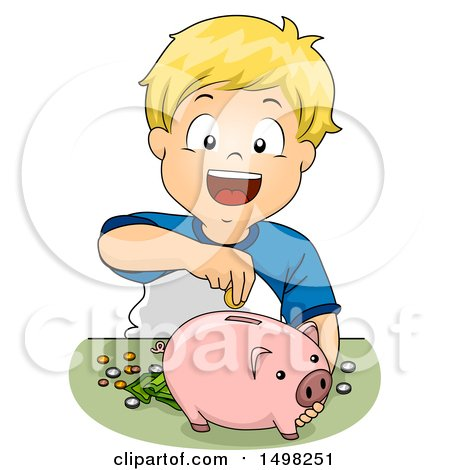 Clipart of a Boy Inserting Money in His Piggy Bank - Royalty Free Vector Illustration by BNP Design Studio