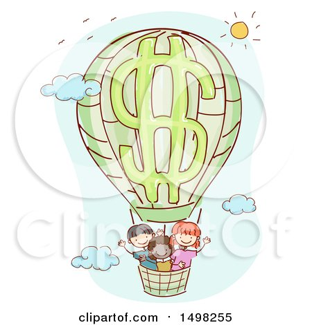 Clipart of a Dollar Hot Air Balloon with Children - Royalty Free Vector Illustration by BNP Design Studio