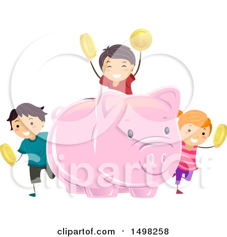 Clipart of a Giant Piggy Bank and Kids with Coins - Royalty Free Vector Illustration by BNP Design Studio