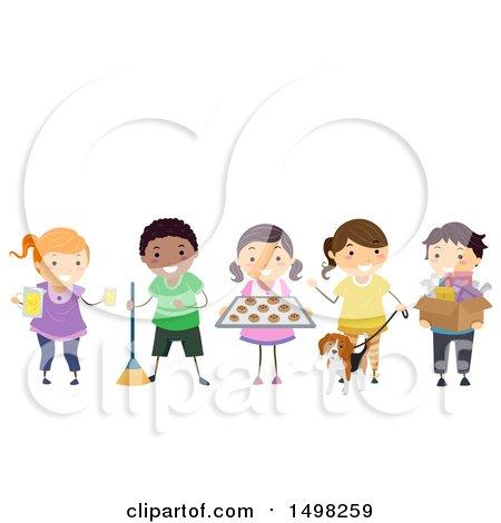 Clipart of a Group of Children Entrepeneurs - Royalty Free Vector Illustration by BNP Design Studio