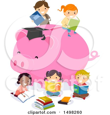 Clipart of a Giant Piggy Bank with Reading Children - Royalty Free Vector Illustration by BNP Design Studio