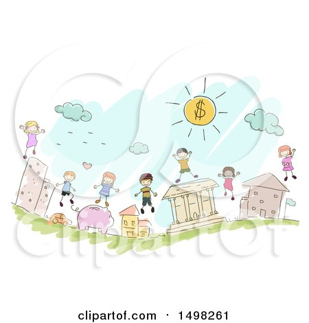 Clipart of a Sketched Group of Kids on Financial Icons - Royalty Free Vector Illustration by BNP Design Studio