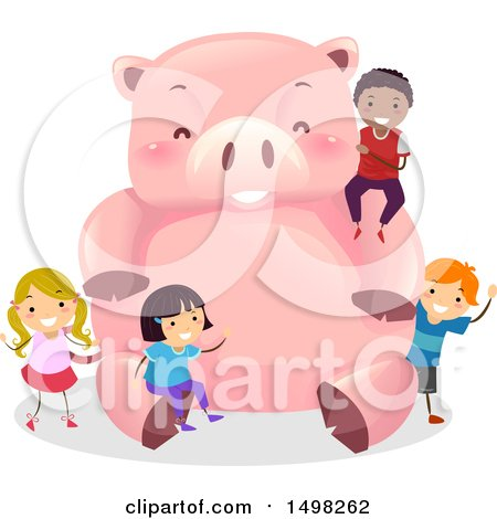 Clipart of a Giant Piggy Bank and Children - Royalty Free Vector Illustration by BNP Design Studio